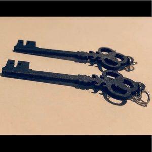 Black Wooden Skeleton Key Earrings by Leanin' Tree
